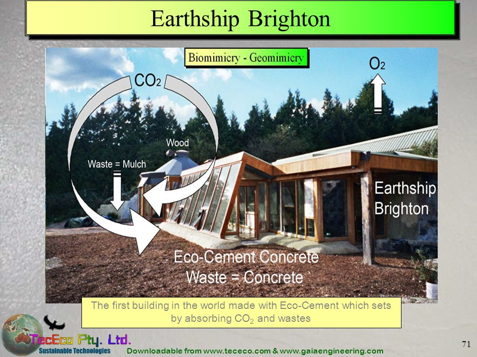 Earthship Brighton The first building in the world made with Eco-Cement which sets by absorbing CO2 and wastes.