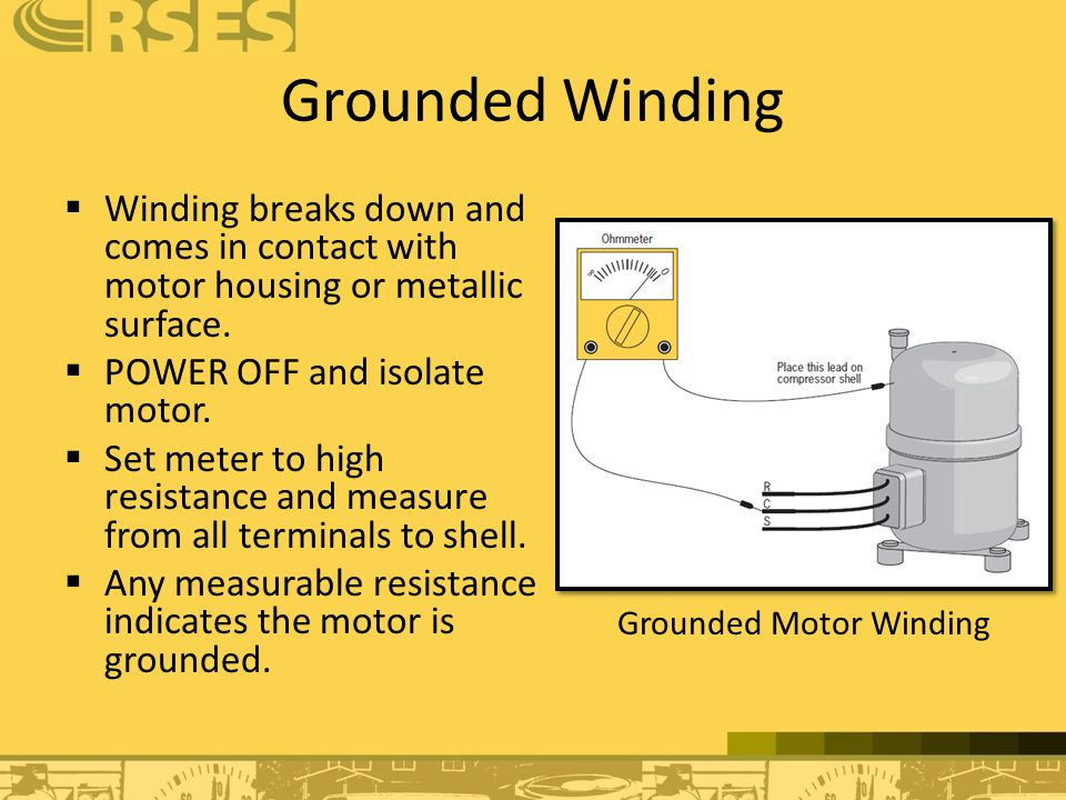 Air conditioning and heat pumps ppt download for Motor winding resistance measurement