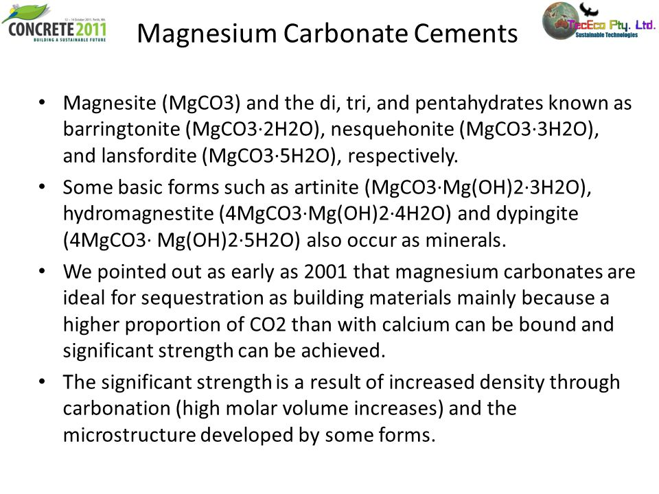 Magnesium Carbonate Cements