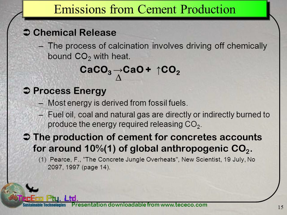 Emissions from Cement Production