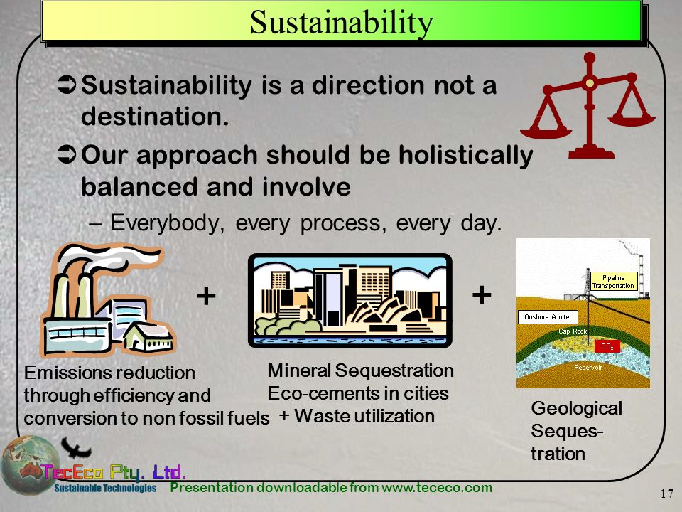 + + Sustainability Sustainability is a direction not a destination.