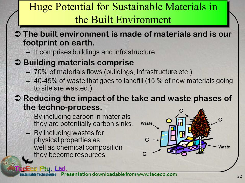 Huge Potential for Sustainable Materials in the Built Environment