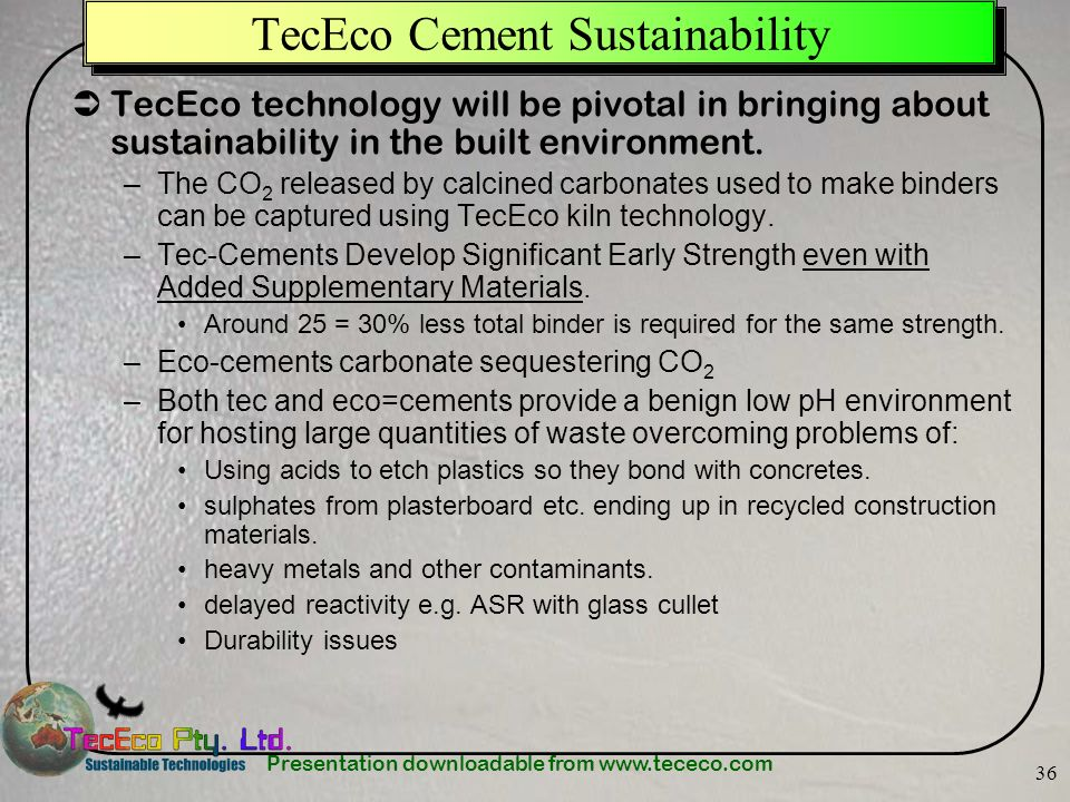 TecEco Cement Sustainability
