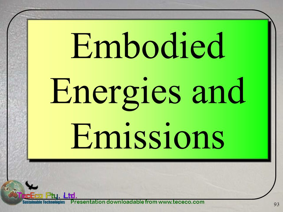 Embodied Energies and Emissions