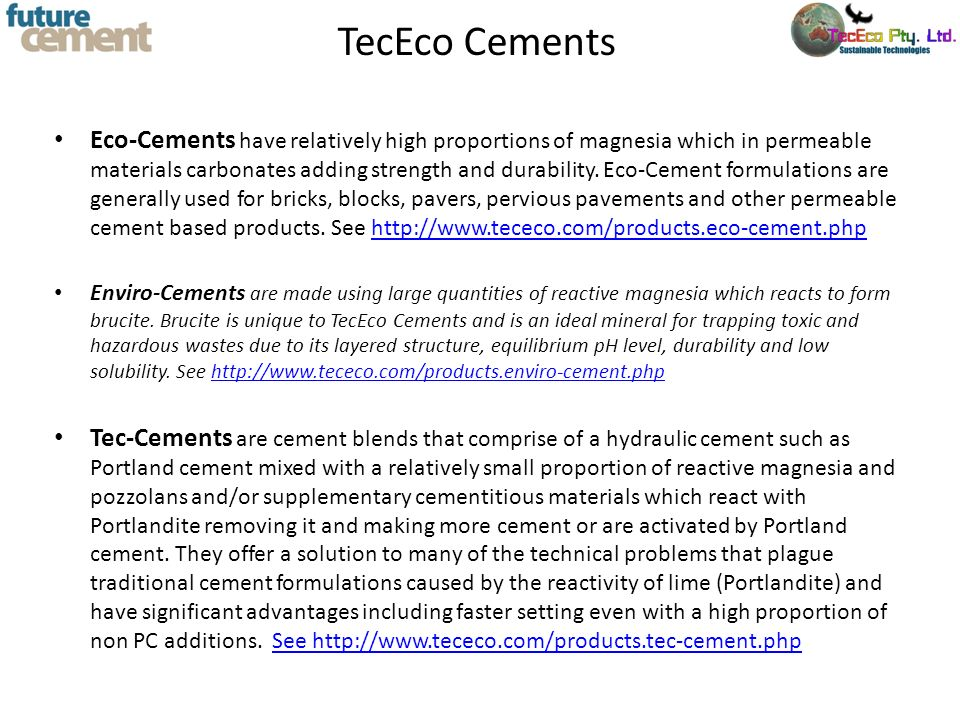 TecEco Cements
