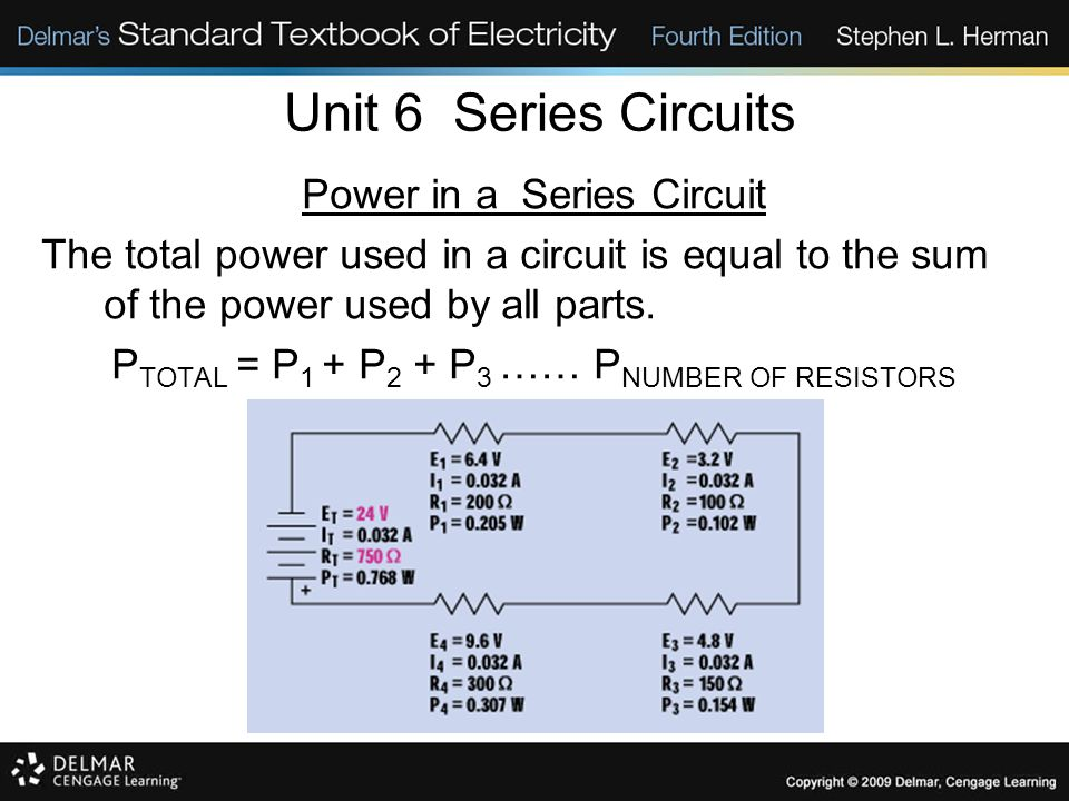 Unit 6 Series Circuits Power in a Series Circuit
