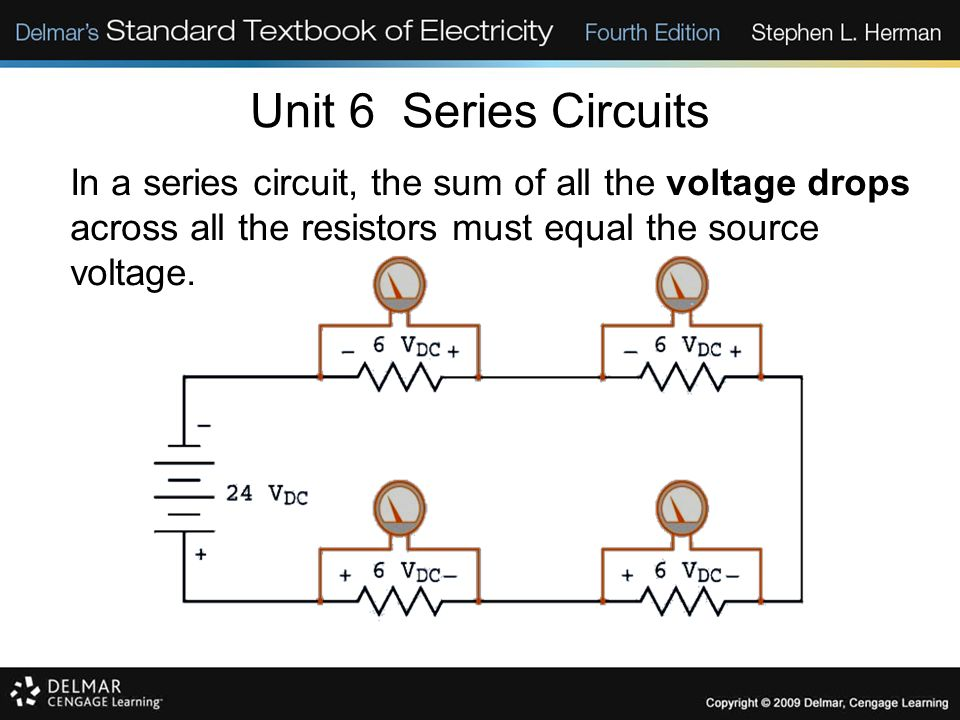 Unit 6 Series Circuits In a series circuit, the sum of all the voltage drops across all the resistors must equal the source voltage.