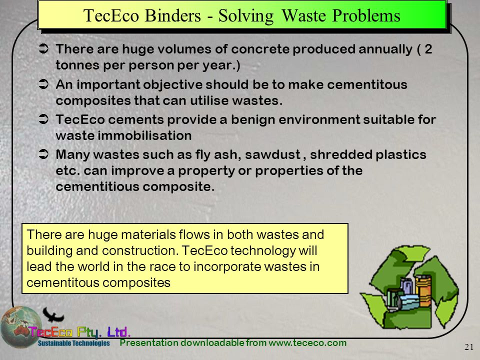 TecEco Binders - Solving Waste Problems