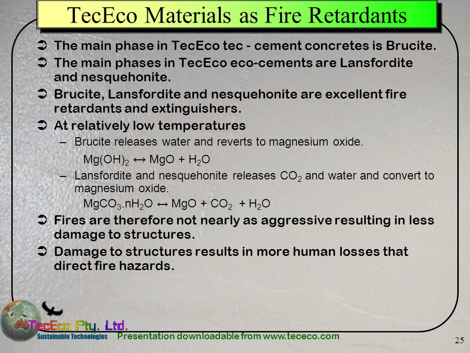 TecEco Materials as Fire Retardants