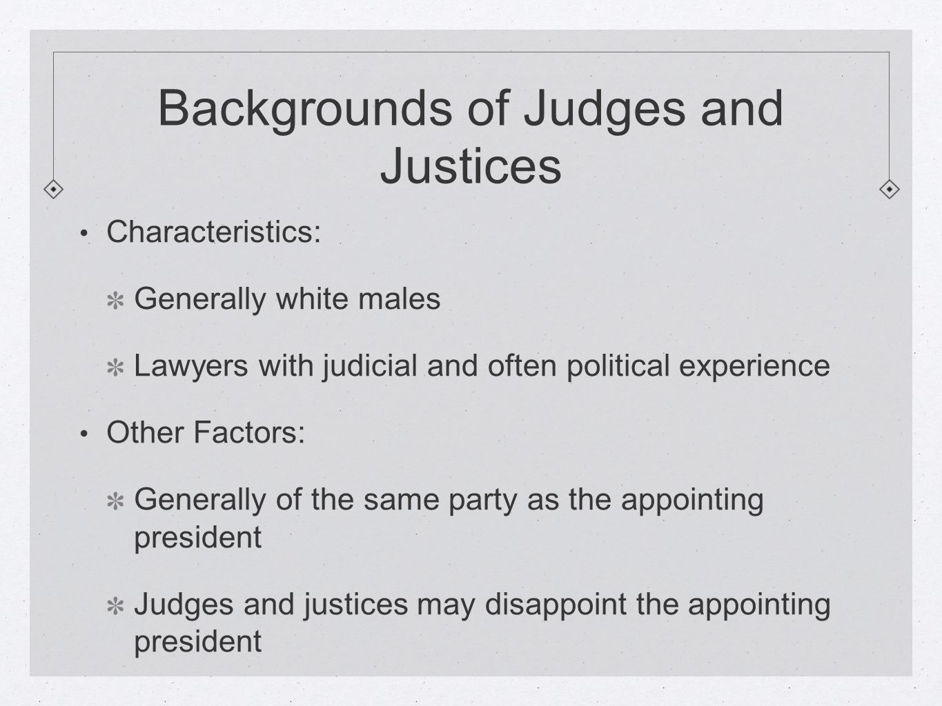 Backgrounds of Judges and Justices