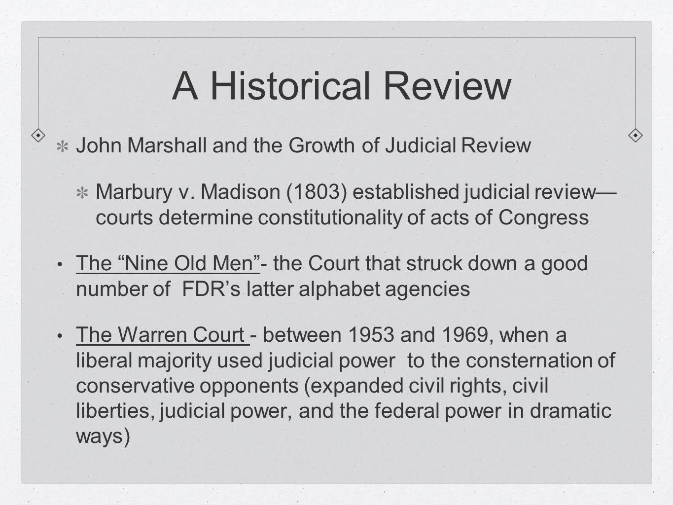 A Historical Review John Marshall and the Growth of Judicial Review