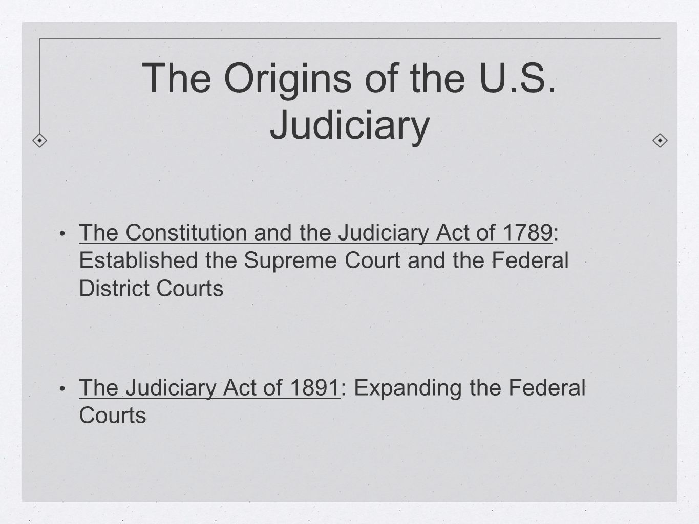 The Origins of the U.S. Judiciary