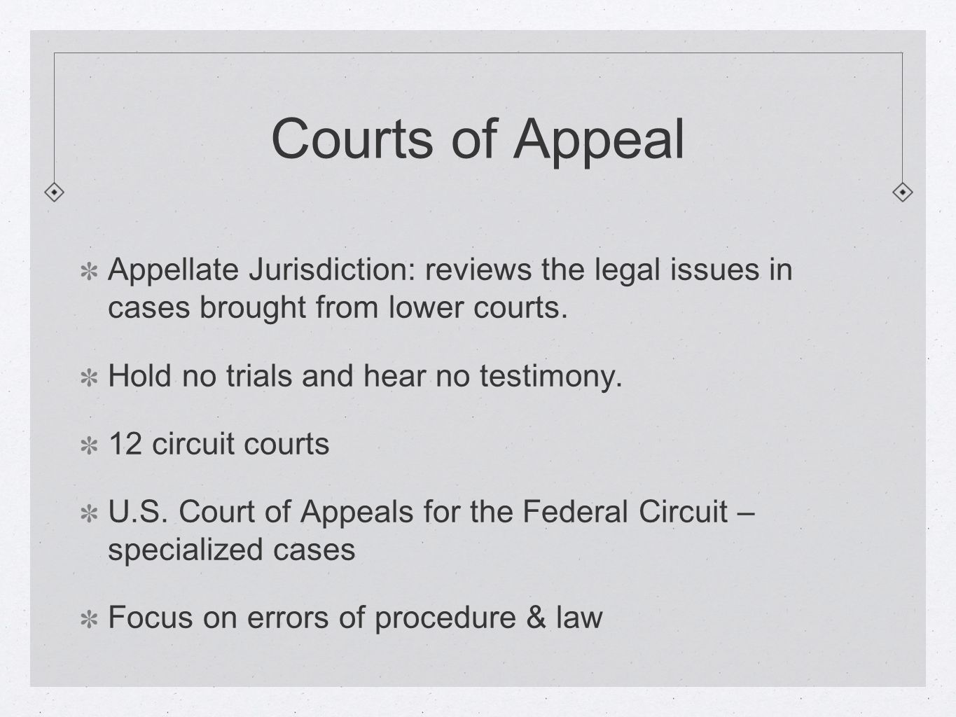 Courts of Appeal Appellate Jurisdiction: reviews the legal issues in cases brought from lower courts.