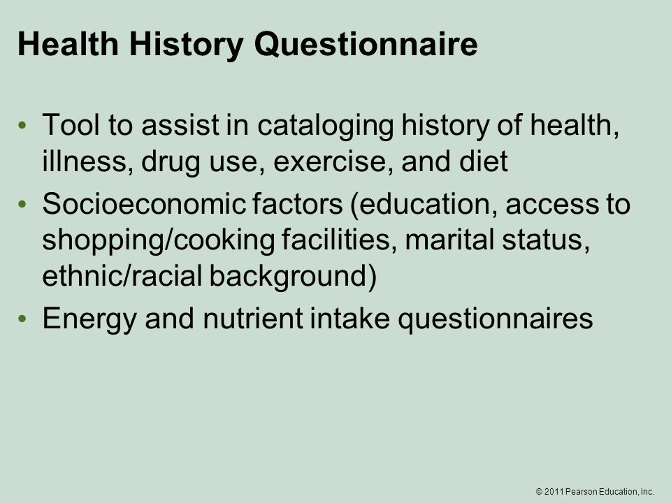 health history questionnaires
