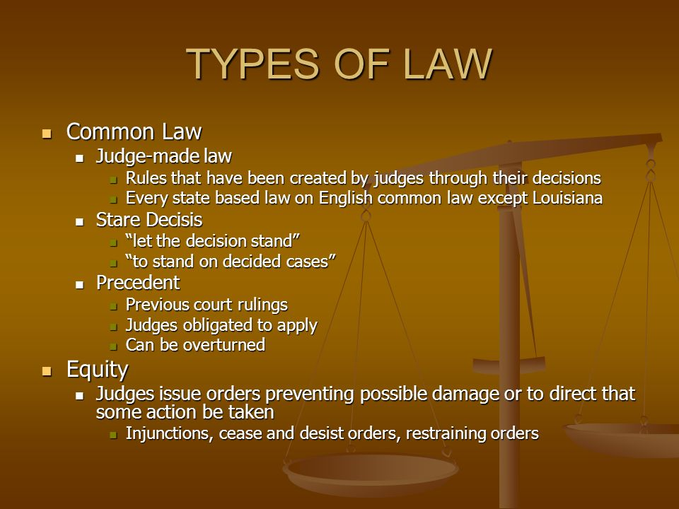 common law and its types The main difference between the two systems is that in common law countries, case law — in the form of published judicial opinions — is of primary importance, whereas in civil law systems, codified statutes predominate.