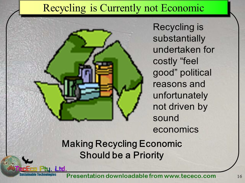 Recycling is Currently not Economic