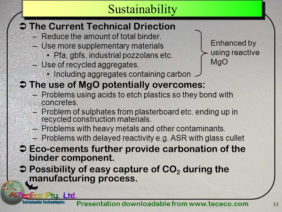 Sustainability The Current Technical Driection