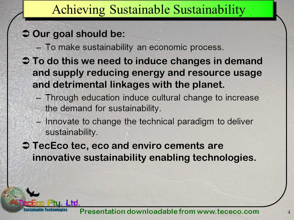 Achieving Sustainable Sustainability