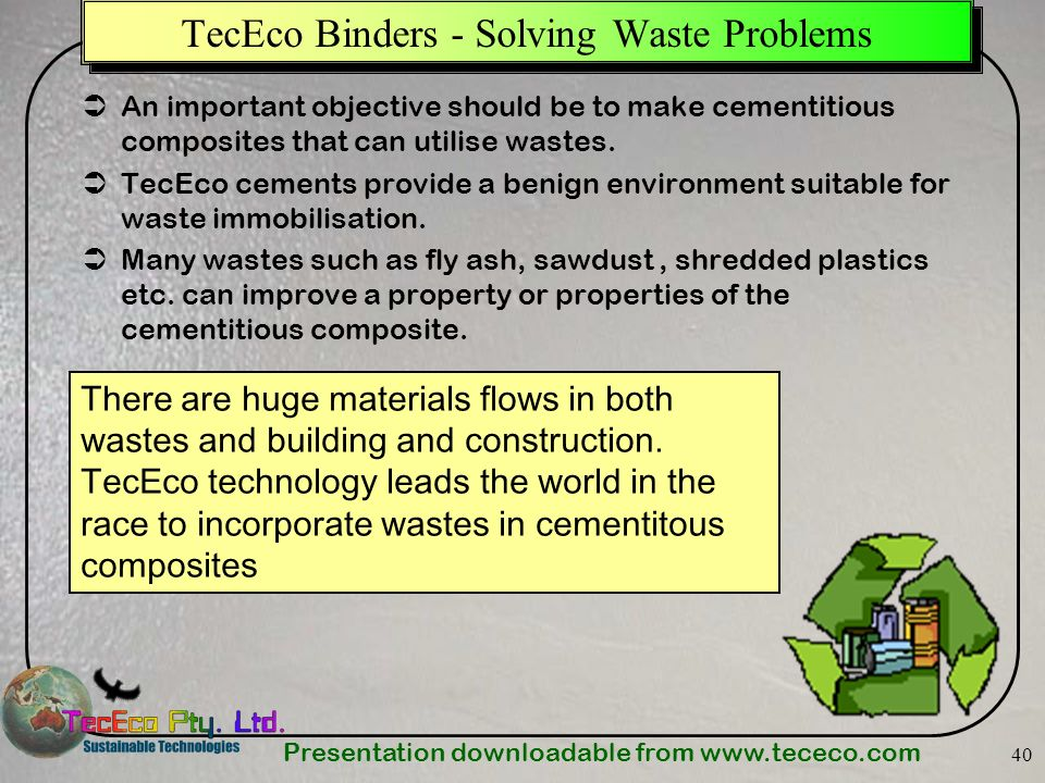 TecEco Binders - Solving Waste Problems