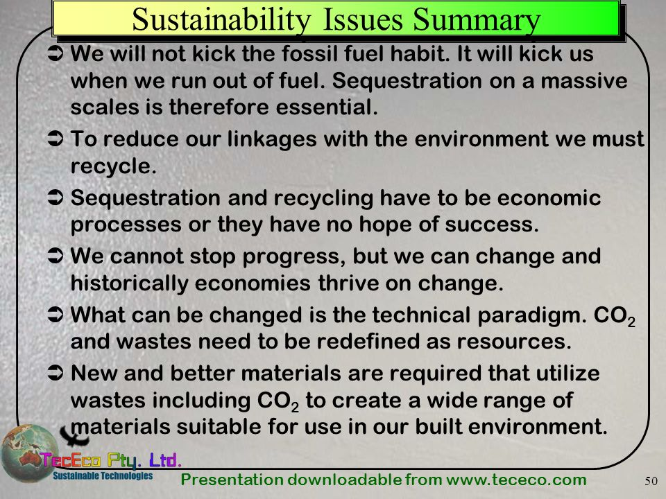 Sustainability Issues Summary