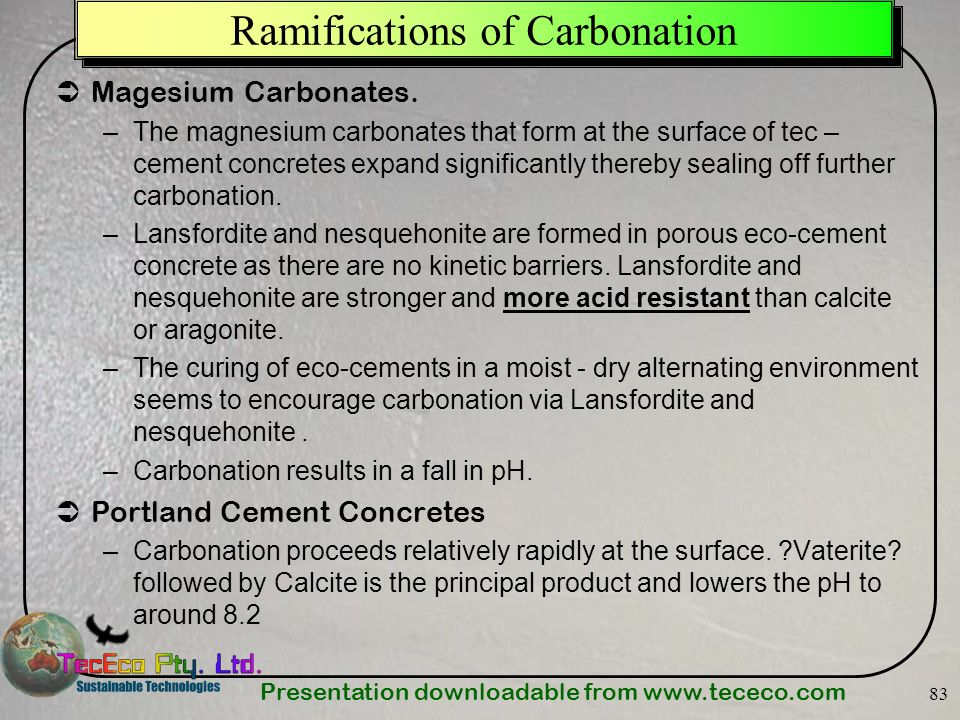 Ramifications of Carbonation