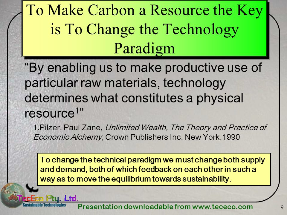 To Make Carbon a Resource the Key is To Change the Technology Paradigm
