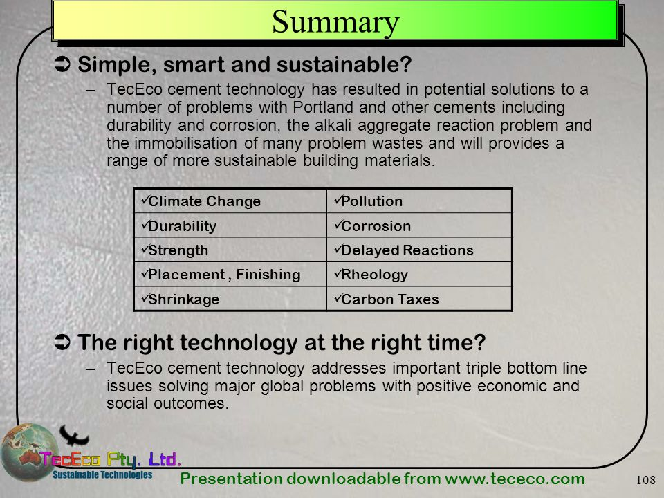 Summary Simple, smart and sustainable