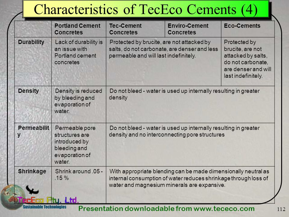 Characteristics of TecEco Cements (4)