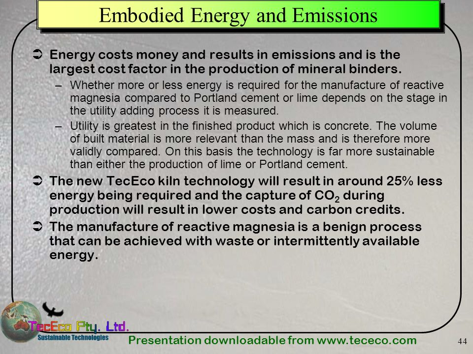 Embodied Energy and Emissions