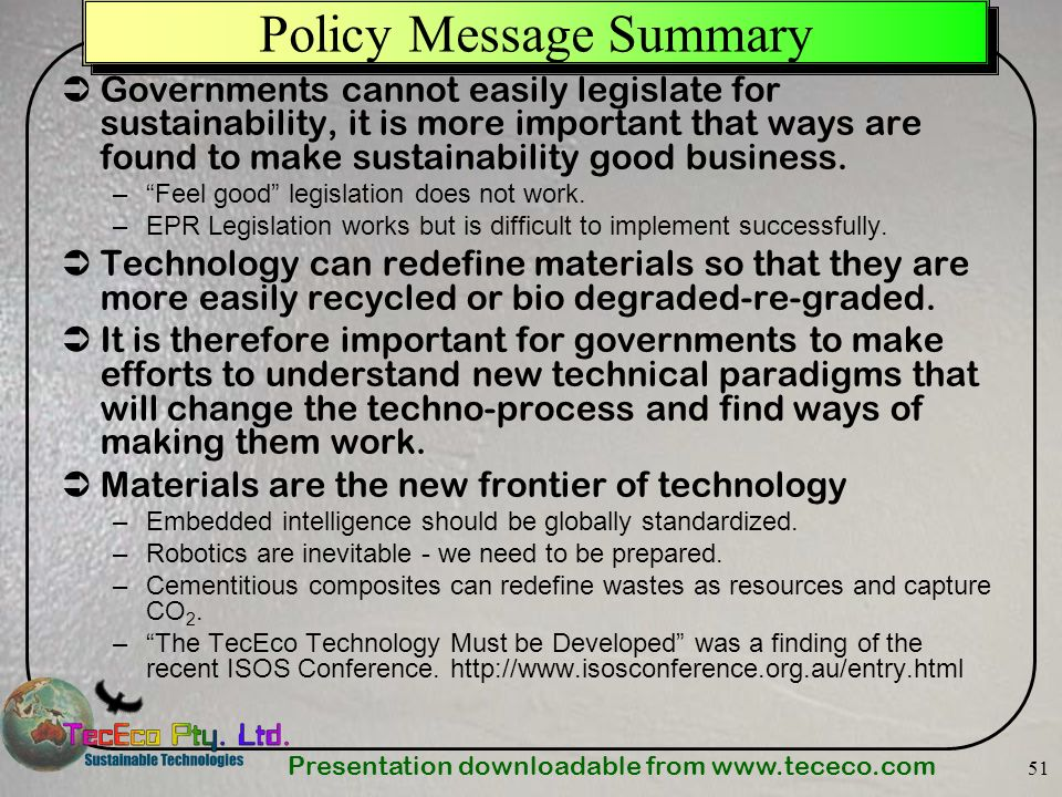 Policy Message Summary