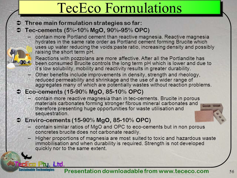 TecEco Formulations Three main formulation strategies so far: