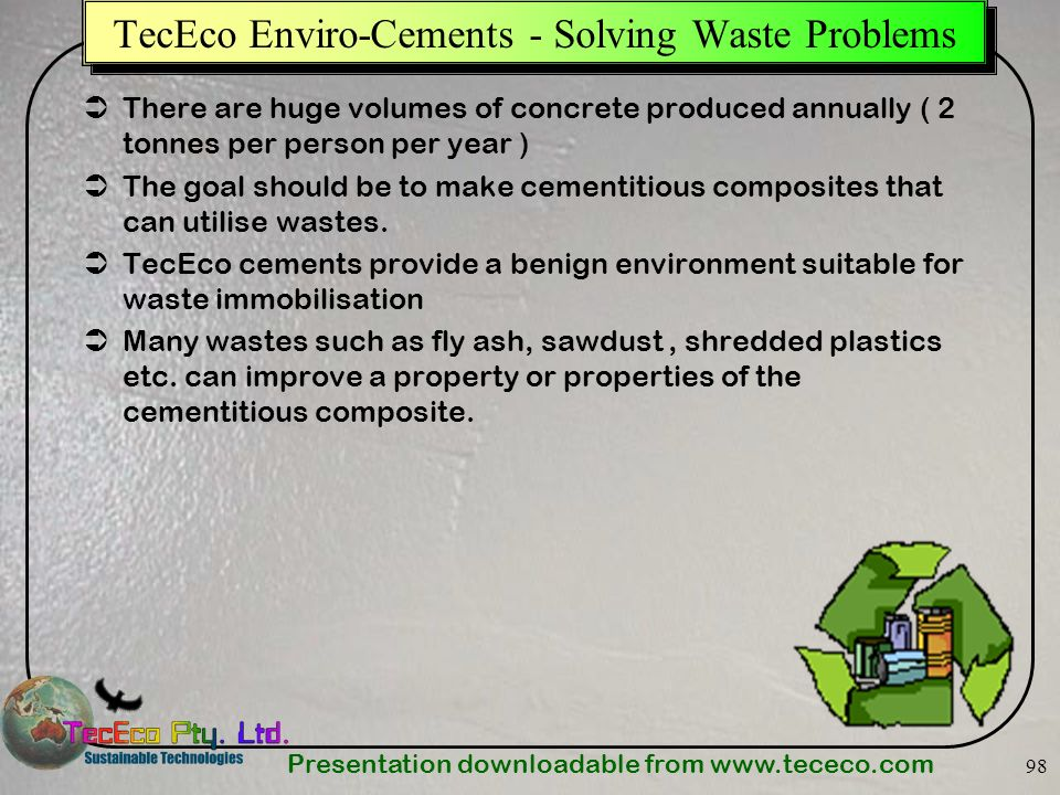 TecEco Enviro-Cements - Solving Waste Problems