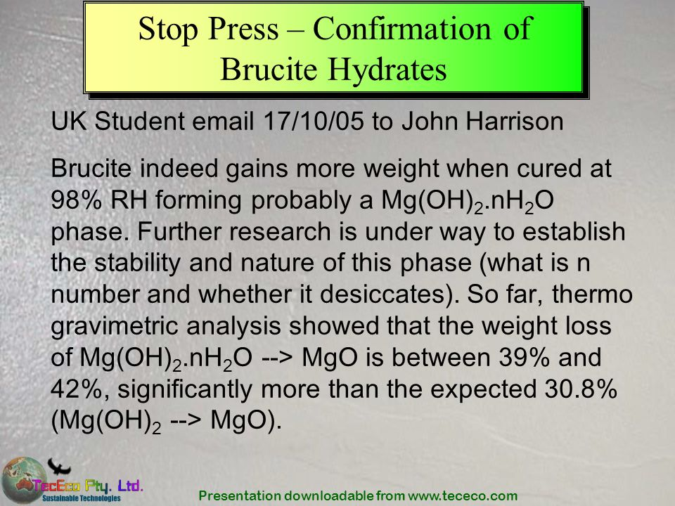 Stop Press – Confirmation of Brucite Hydrates