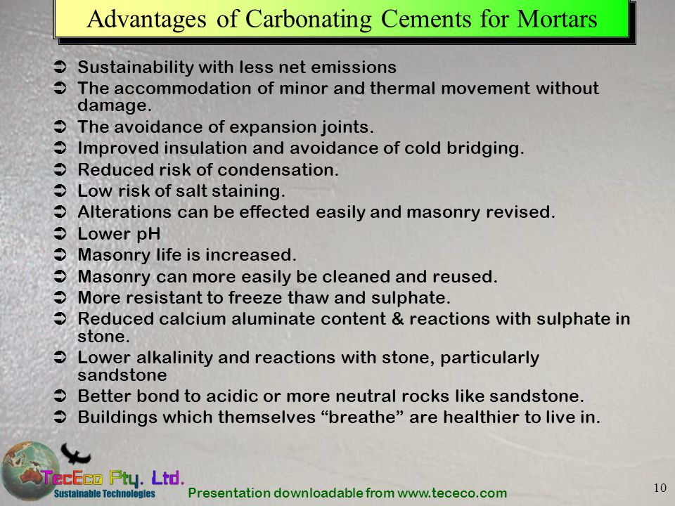 Advantages of Carbonating Cements for Mortars