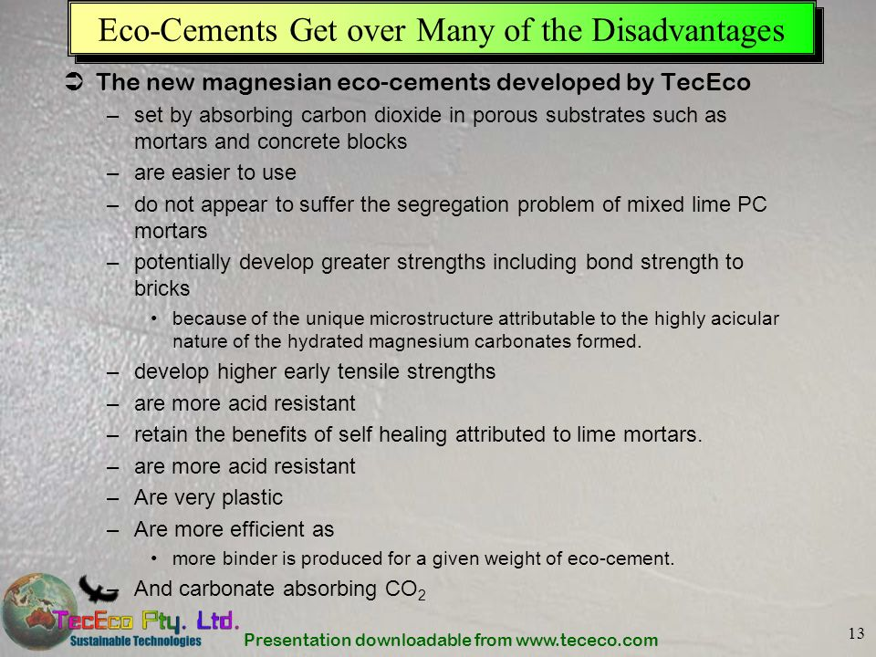Eco-Cements Get over Many of the Disadvantages