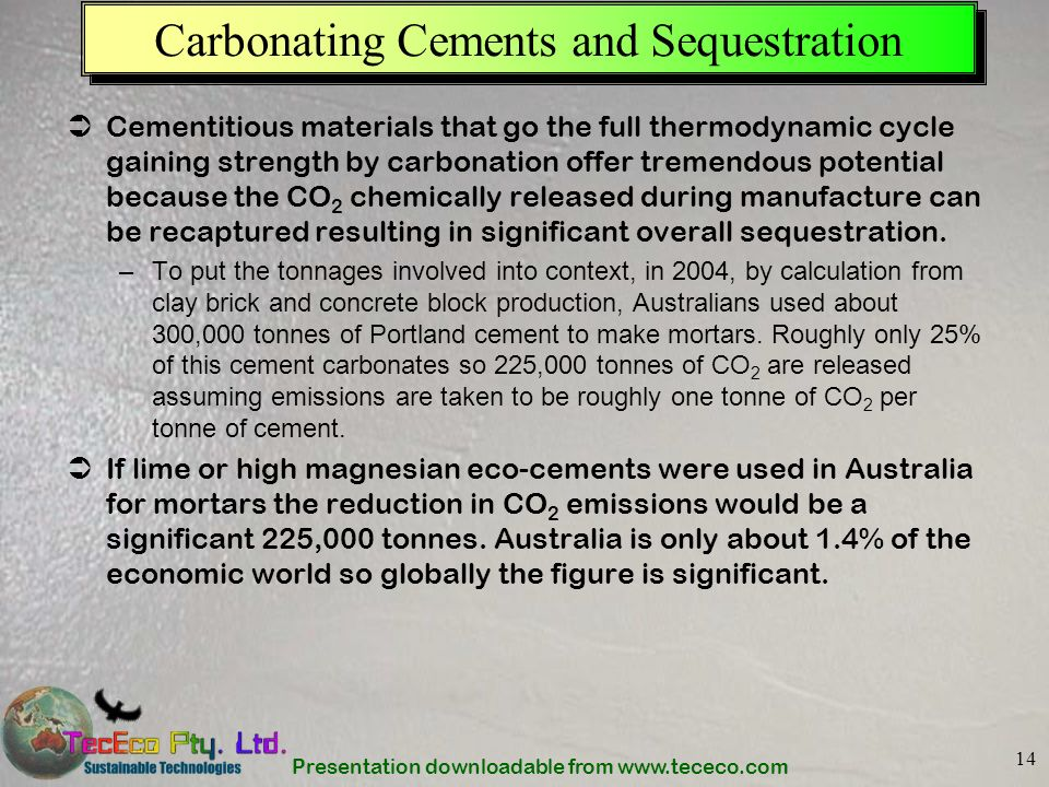 Carbonating Cements and Sequestration