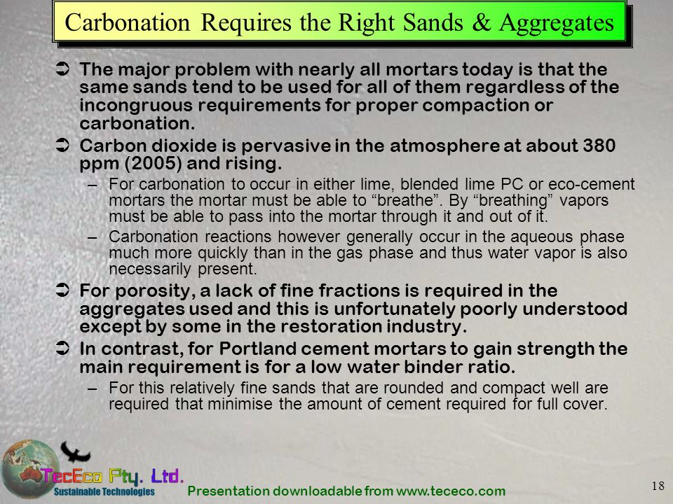 Carbonation Requires the Right Sands & Aggregates