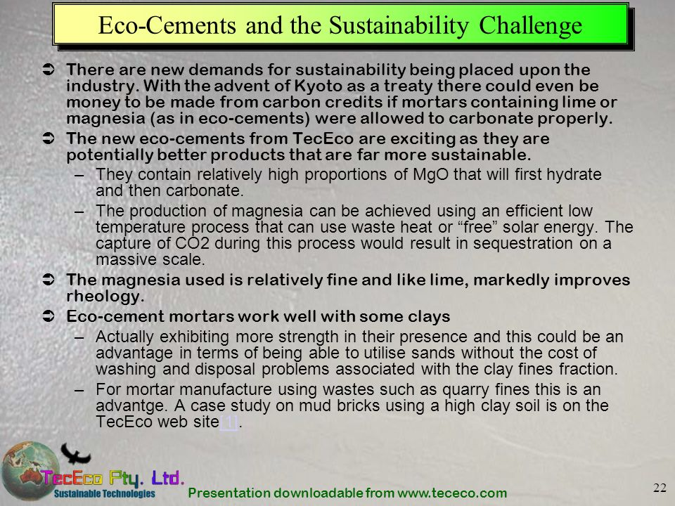 Eco-Cements and the Sustainability Challenge