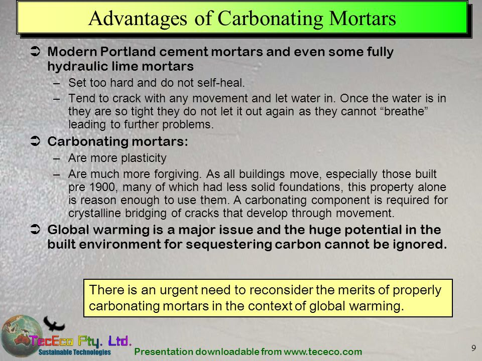 Advantages of Carbonating Mortars