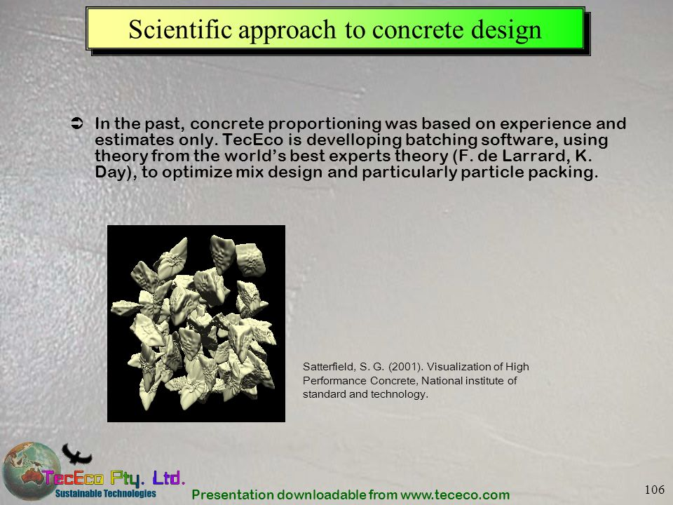 Scientific approach to concrete design