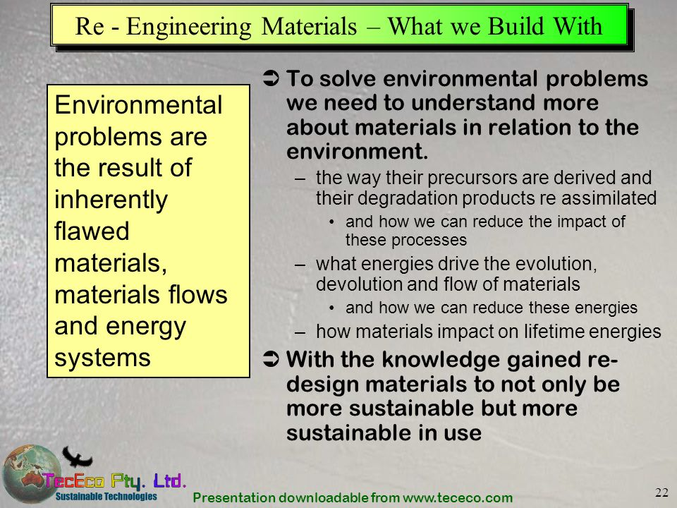 Re - Engineering Materials – What we Build With