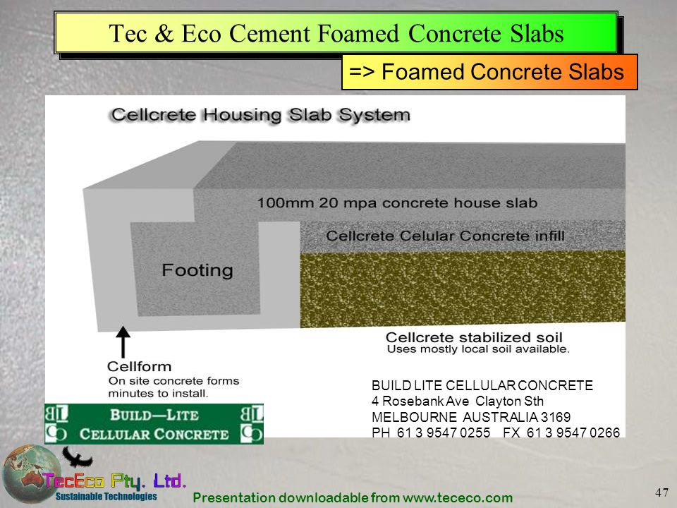 Tec & Eco Cement Foamed Concrete Slabs