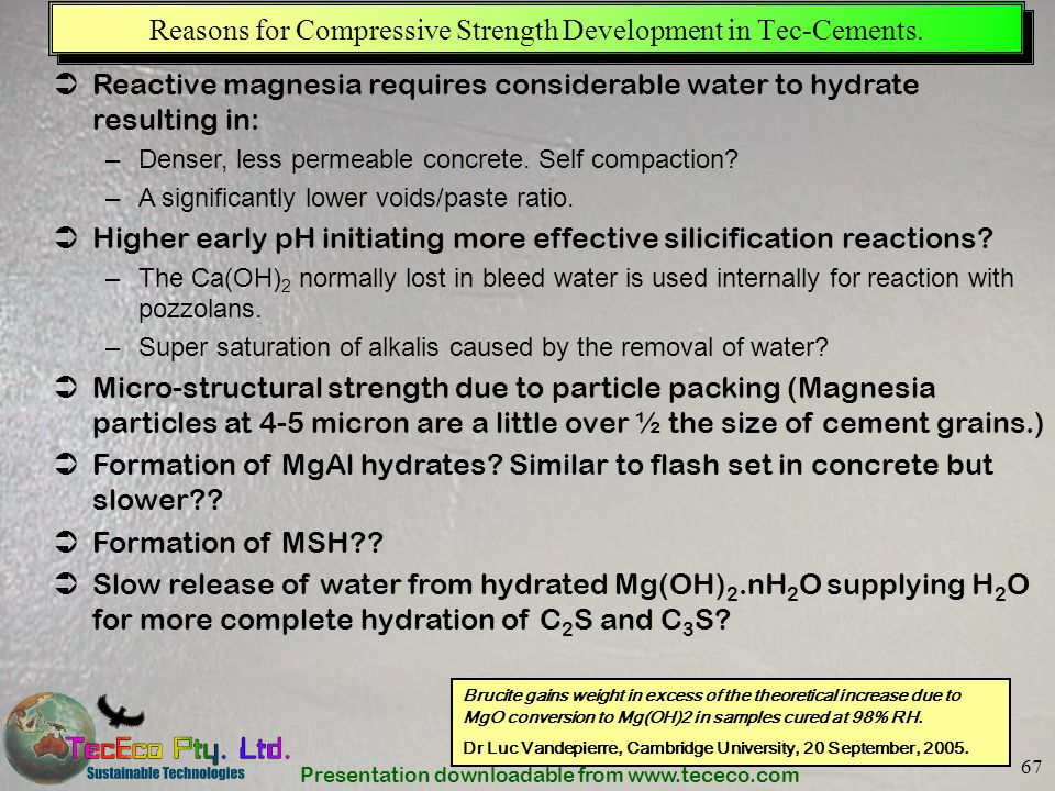 Reasons for Compressive Strength Development in Tec-Cements.