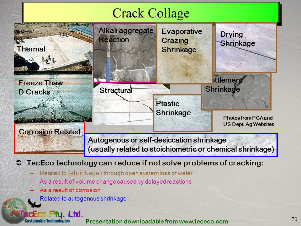 Crack Collage Alkali aggregate Reaction Evaporative Crazing Shrinkage
