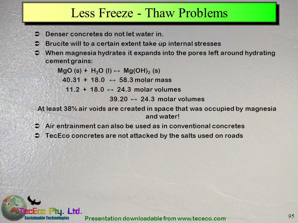 Less Freeze - Thaw Problems