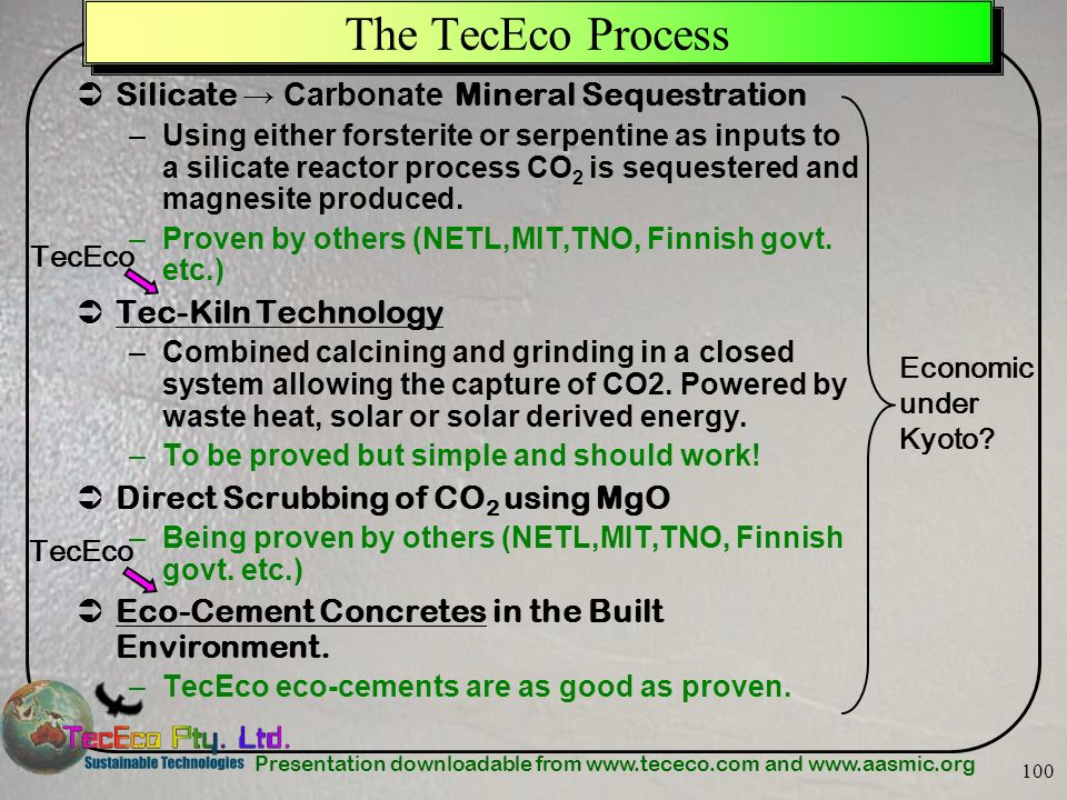 The TecEco Process Silicate → Carbonate Mineral Sequestration