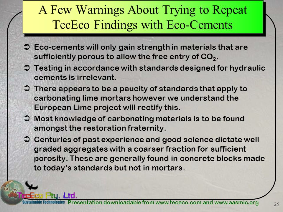 A Few Warnings About Trying to Repeat TecEco Findings with Eco-Cements
