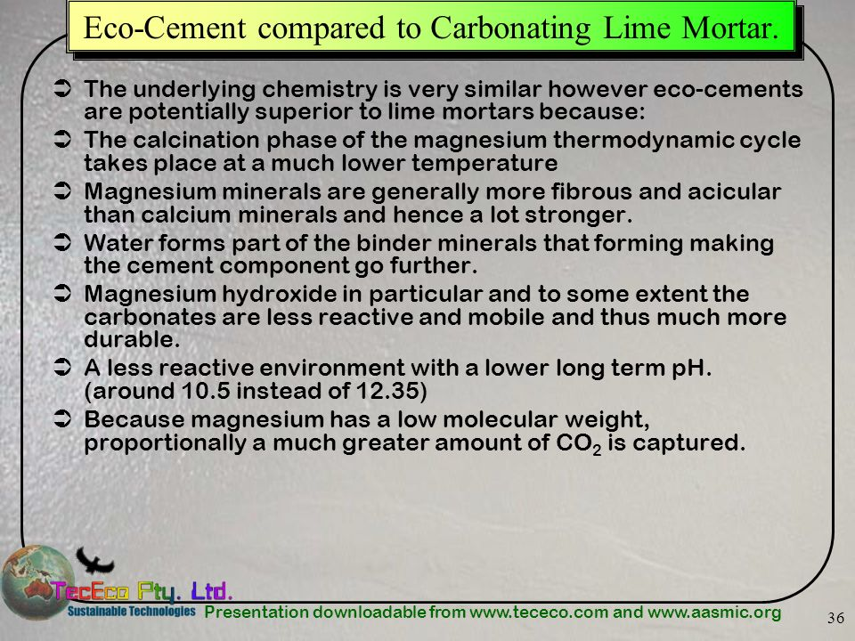 Eco-Cement compared to Carbonating Lime Mortar.
