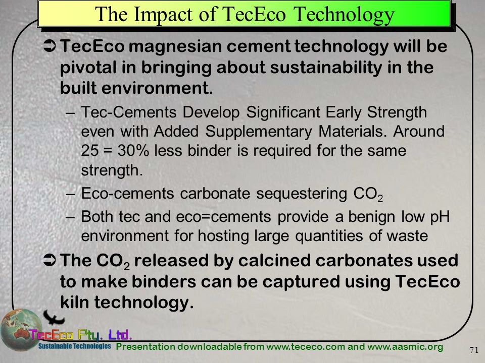The Impact of TecEco Technology