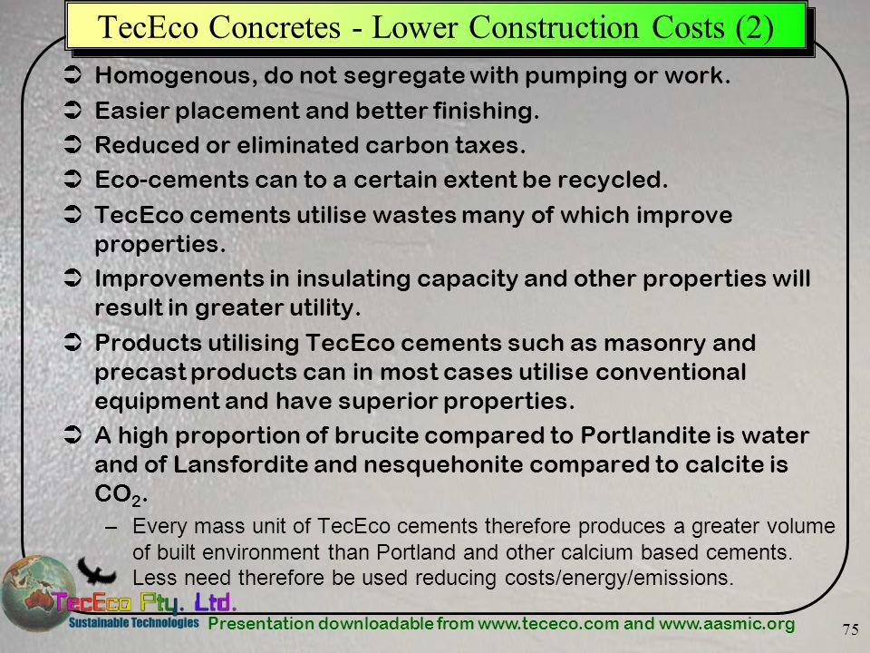 TecEco Concretes - Lower Construction Costs (2)